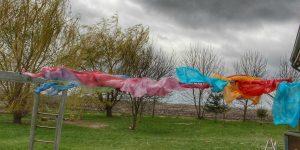 waldorf play silks hanging on the line