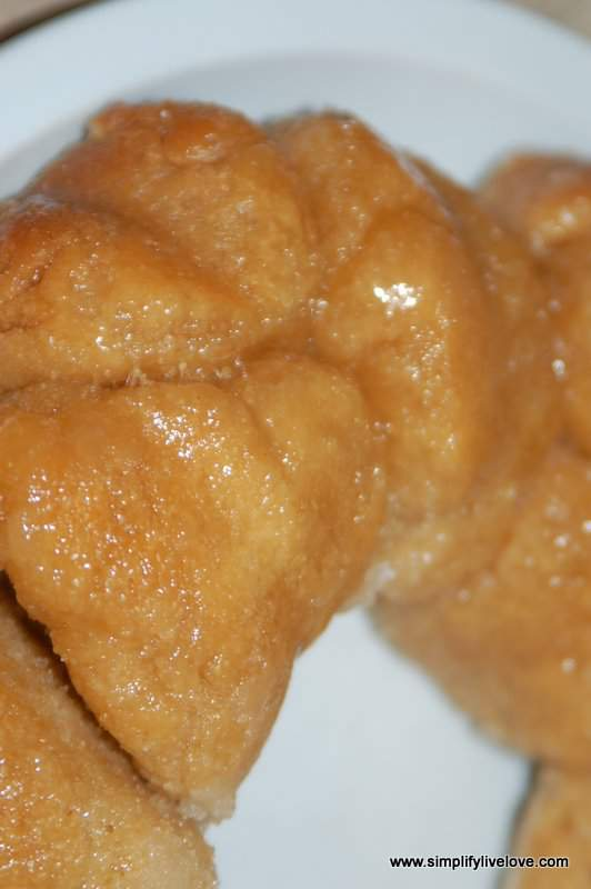 close up of homemade monkey bread