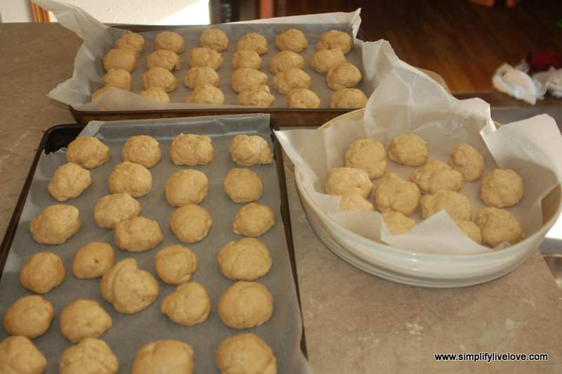 dough balls for homemade monkey bread using freshly ground flour