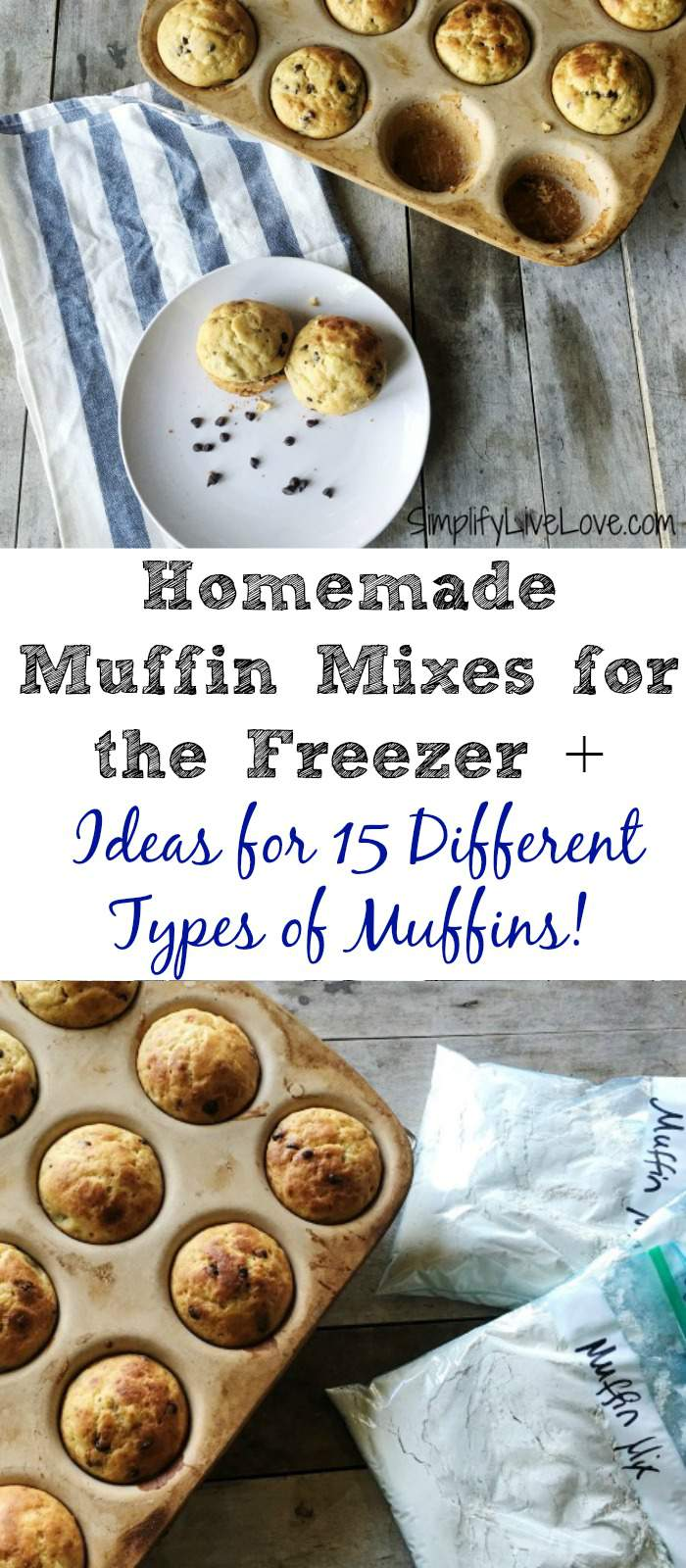 These easy muffin mixes for the freezer mean quick homemade baked goods on busy mornings. Make extra mixes the same day you serve this to fill your freezer! Plus, get 15 ideas for different types of muffins you can make using this mix.