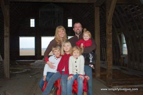 family photo in old barn