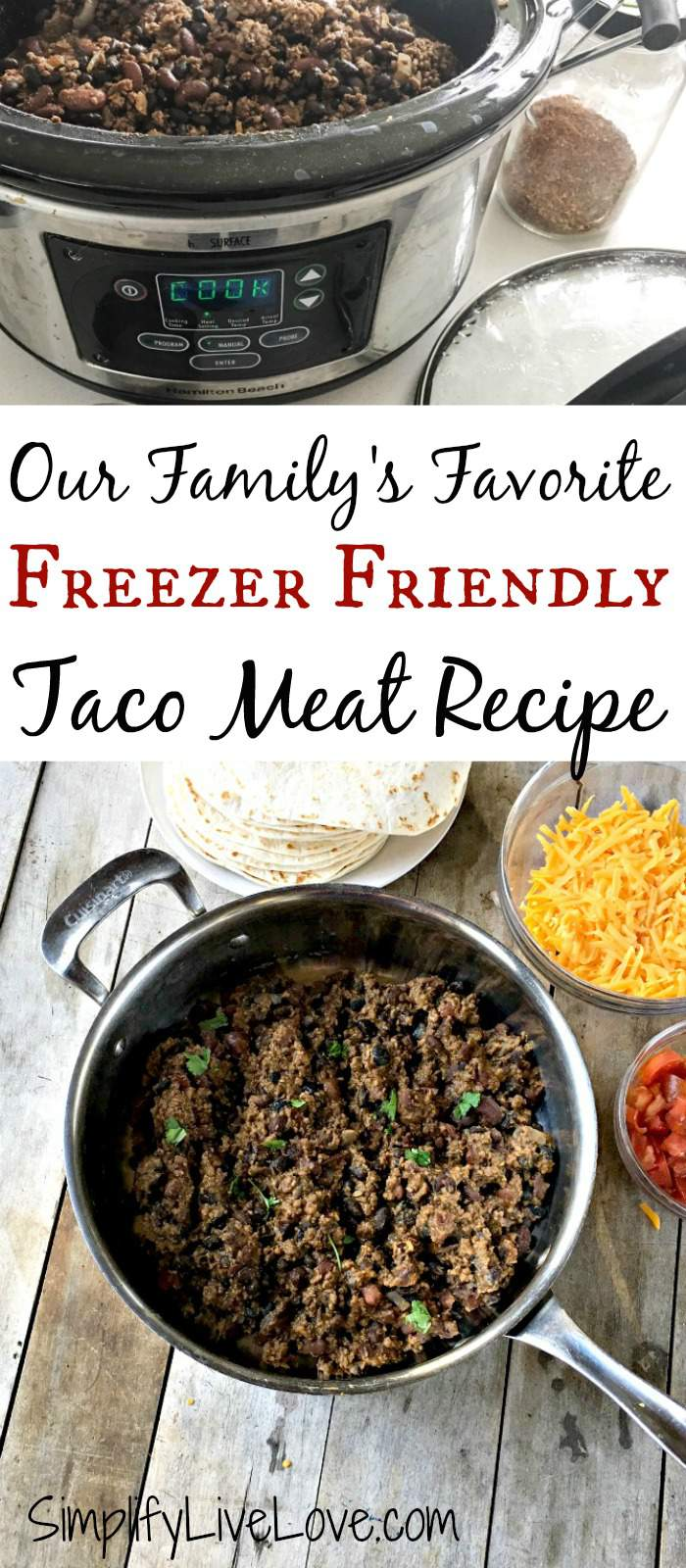 Our family's favorite taco meat recipe, made in large quantity because it's perfect for the freezer. This recipe features ground beef, homemade spice mix, and beans. Delicious!