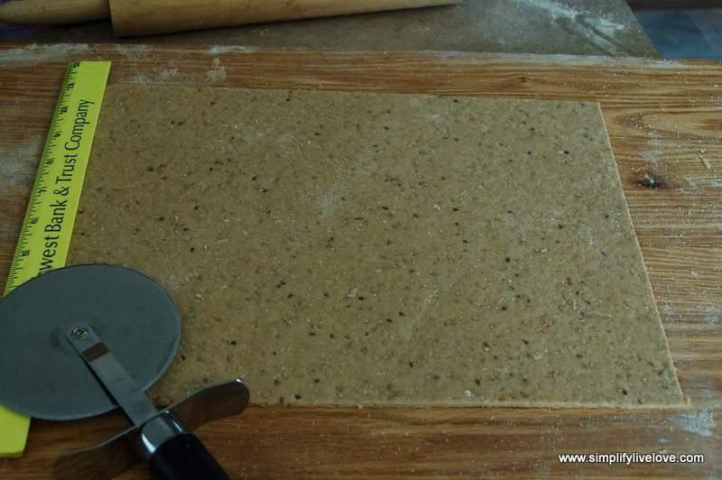 trim the homemade crackers dough into a rectangle