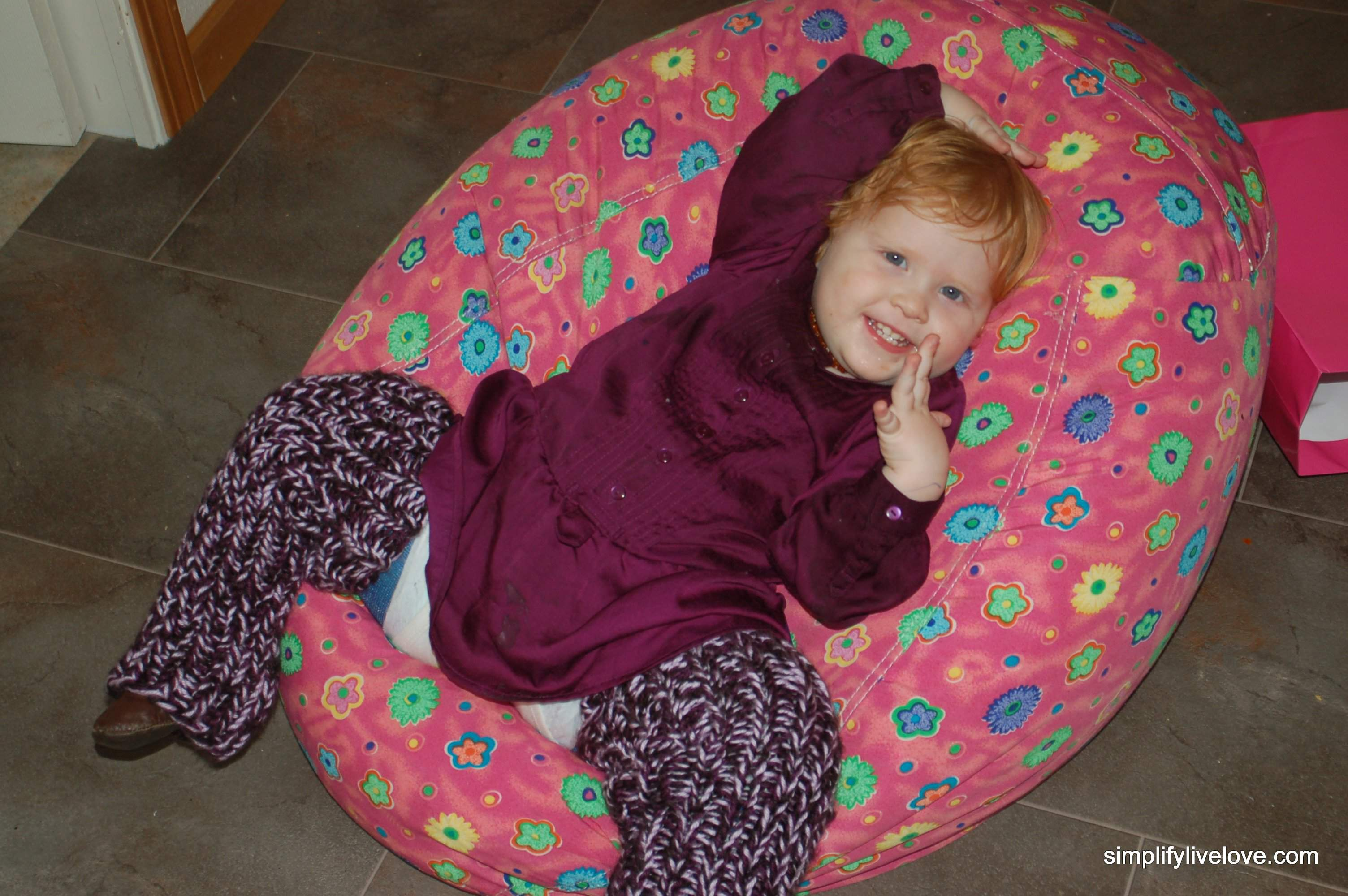 giril in spica cast on bean bag chair