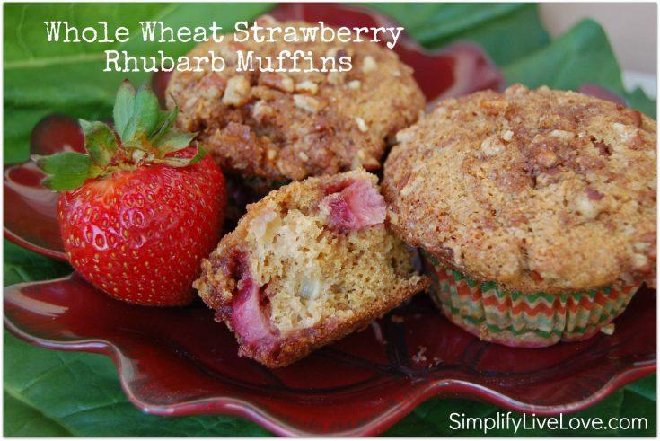 Whole wheat strawberry rhubarb muffins