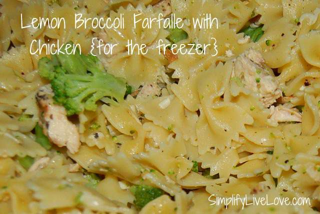 chicken farfalle for the freezer