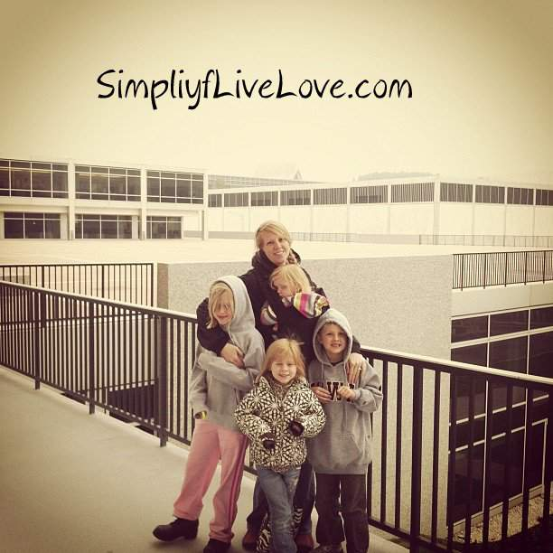 family standing on the terrazo at USAFA in the fog