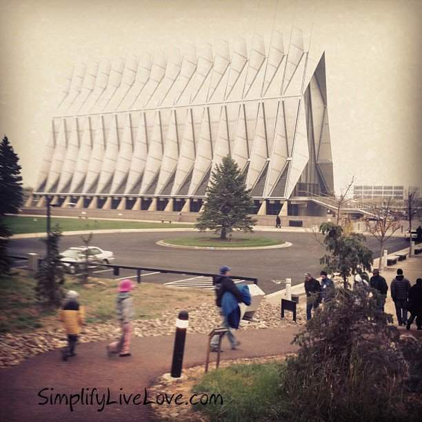 the cadet chapel at USAFA in the fog