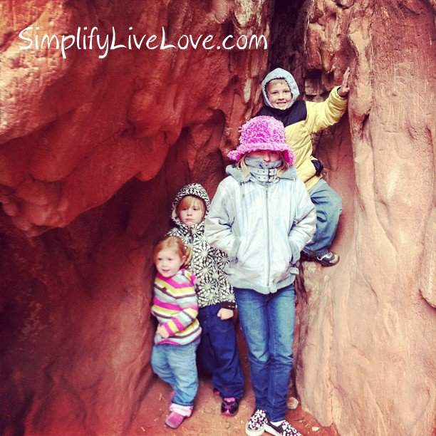 four cold kids in the rocks at Garden of the Gods