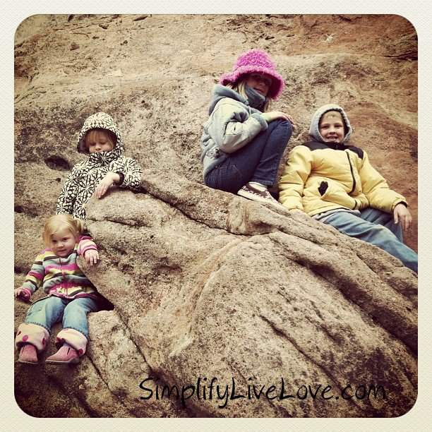kids climbing in the rocks at Garden of the Gods
