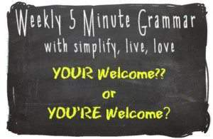Is it Your welcome or you're welcome? Not sure which one? Here's a quick five-minute grammar lesson on the difference between your and you're and when to use which!
