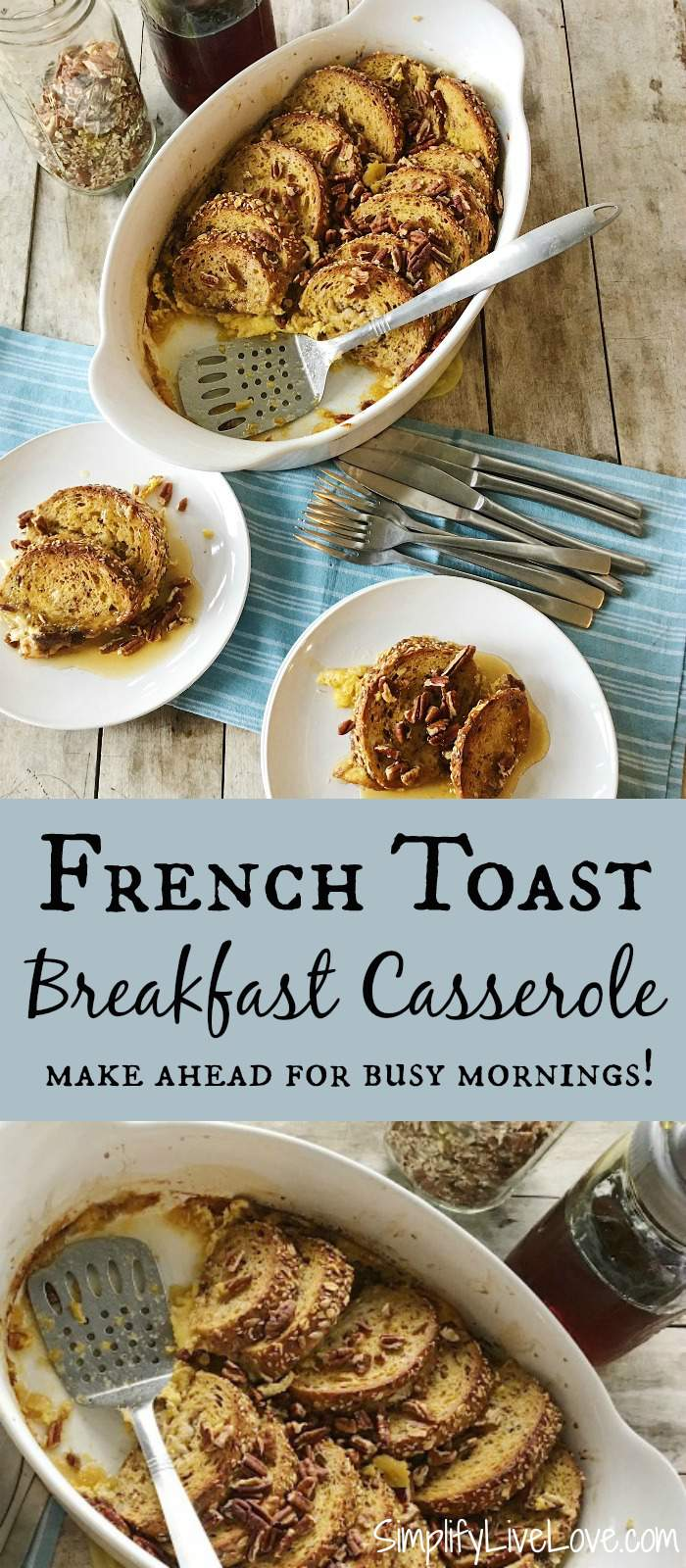 This french toast breakfast casserole is absolutely delicious! Assemble it at night before you go to bed and pop it in the oven in the morning! YUM!!