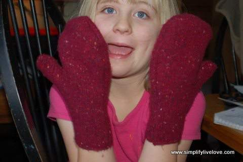 homemade mittens from up-cycled sweaters