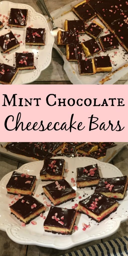 Mint Chocolate Cheesecake Bars made with graham cracker crust for cheesecake