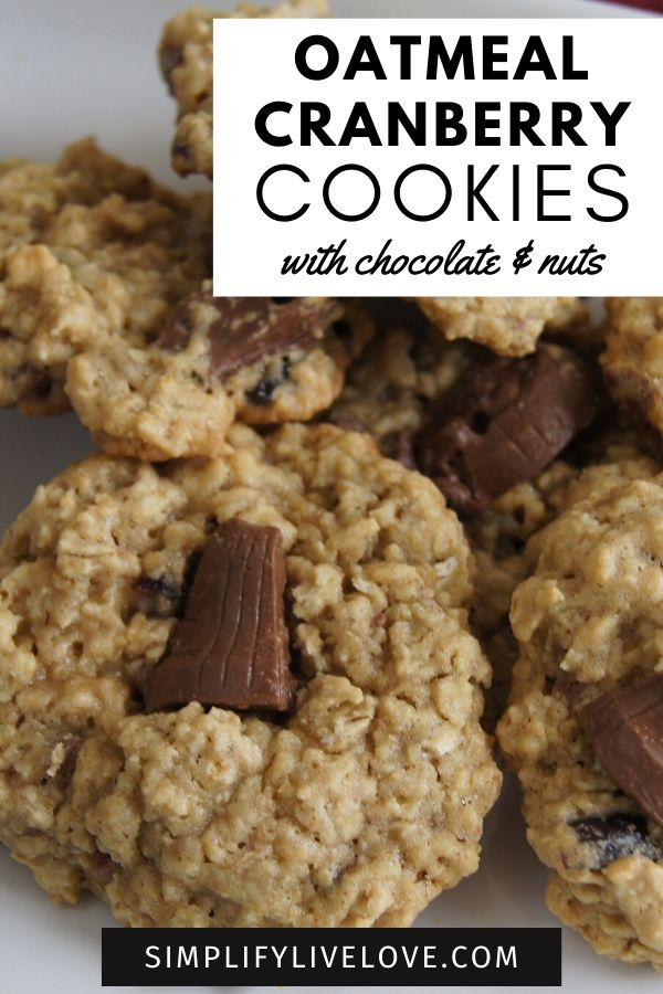 oatmeal cranberry cookies with chocolate and nuts