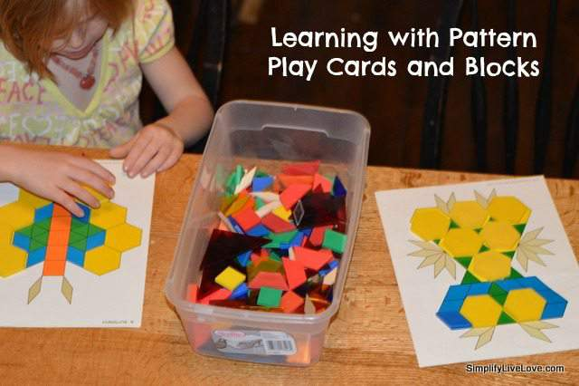 learning with pattern play cards and blocks