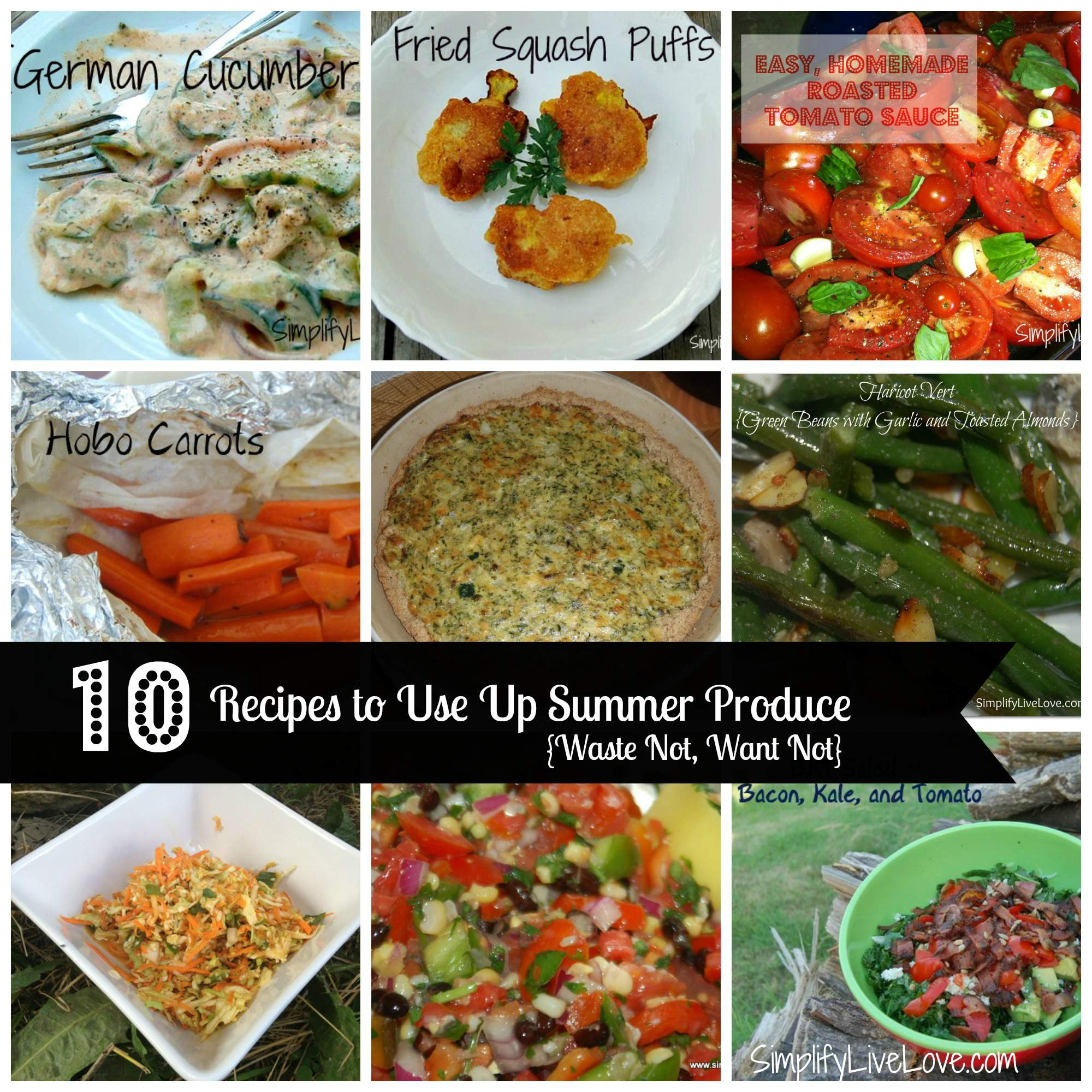 Don't let your summer garden veggies go to waste! Here are 10 delicious summer produce recipes to help you use it all up! These recipes for squash, zucchini, cucumbers, green beans, kale, tomatoes and more are all hits at our house.