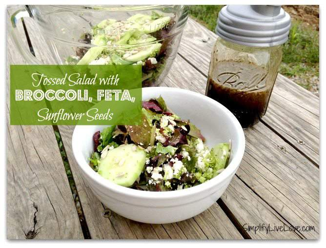 tossed salad with broccoli, feta, and sunflower seeds
