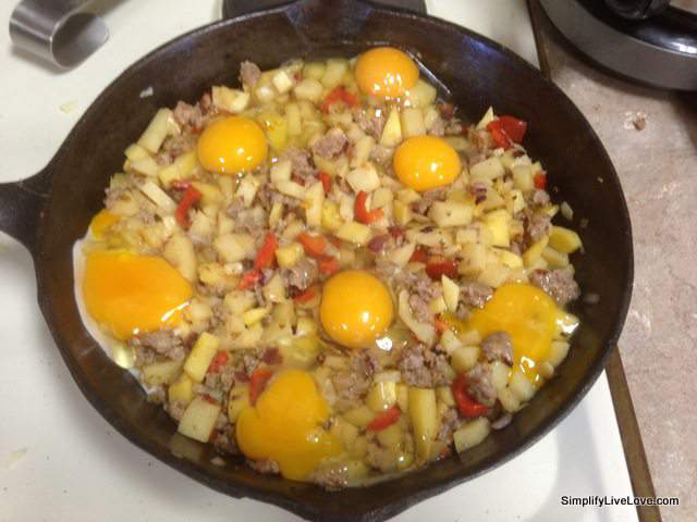 add sausage and eggs