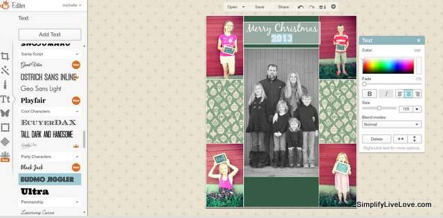 How to make a Printable 4x6 Christmas Photo in PicMonkey