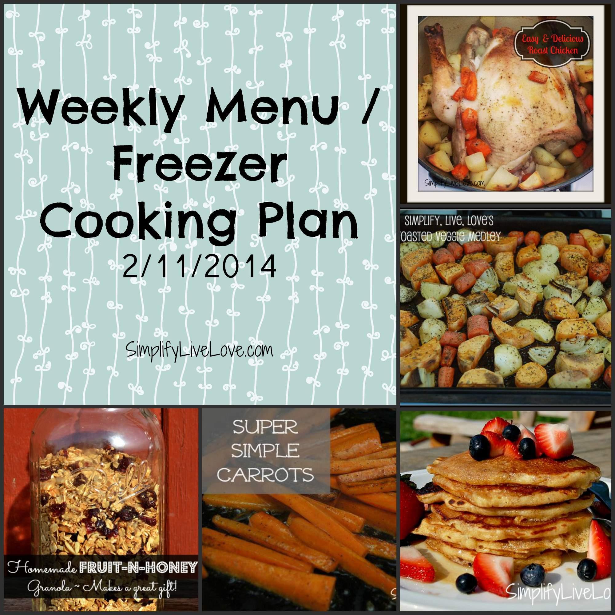 weekly menu freezer cooking plan feb
