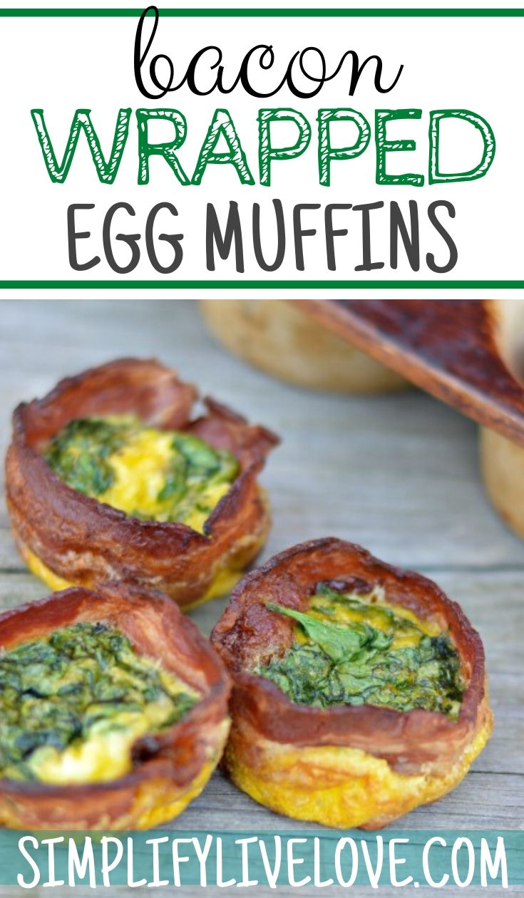 Bacon Wrapped Spinach, Cheese & Egg Muffin Recipe