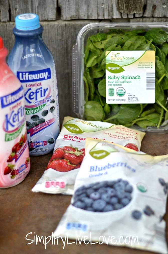 Kids love smoothies! Tossing together some frozen blueberries, strawberries, some yogurt, and baby spinach is a delicious recipe to get your kids to eat healthy!