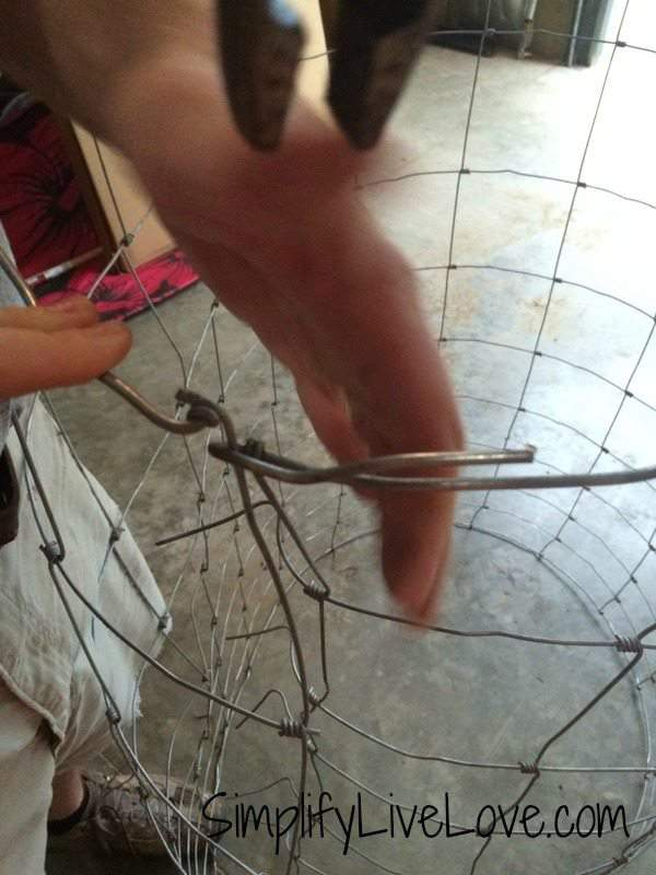 How to Make Strong & Effective Tomato Cages  - DIY Tutorial how to bend the wire to put the cages together. {from SimplifyLiveLove.com}