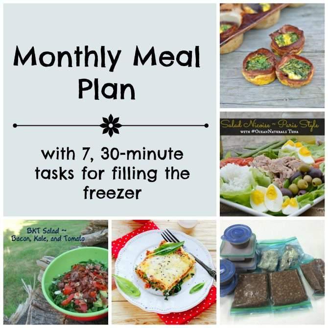 June Menu Plan & 7, 30 Minute Tasks for Filling the Freezer