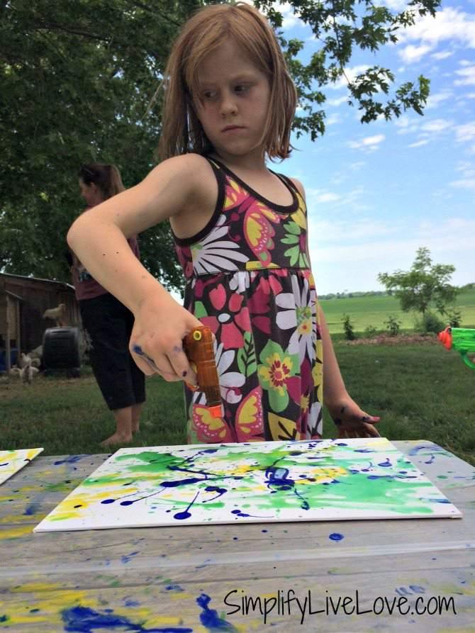 Squirt Gun Canvas Art - Fun Summer Activity for Kids #pmedia #pressnsealhacks #ad 5