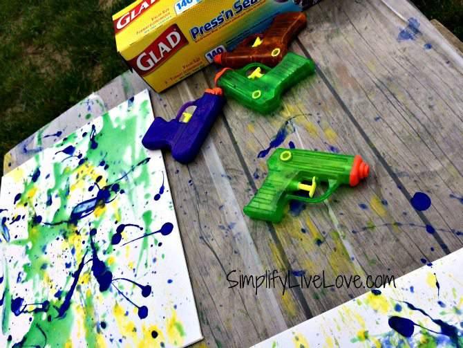 Squirt Gun Canvas Art - Fun Summer Activity for Kids #pmedia #pressnsealhacks #ad 6