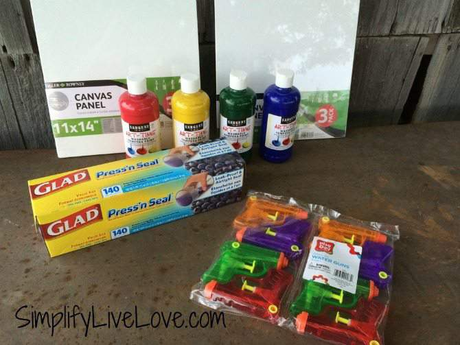 Squirt Gun Canvas Art - Fun Summer Activity for Kids #pmedia #pressnsealhacks #ad buy supplies