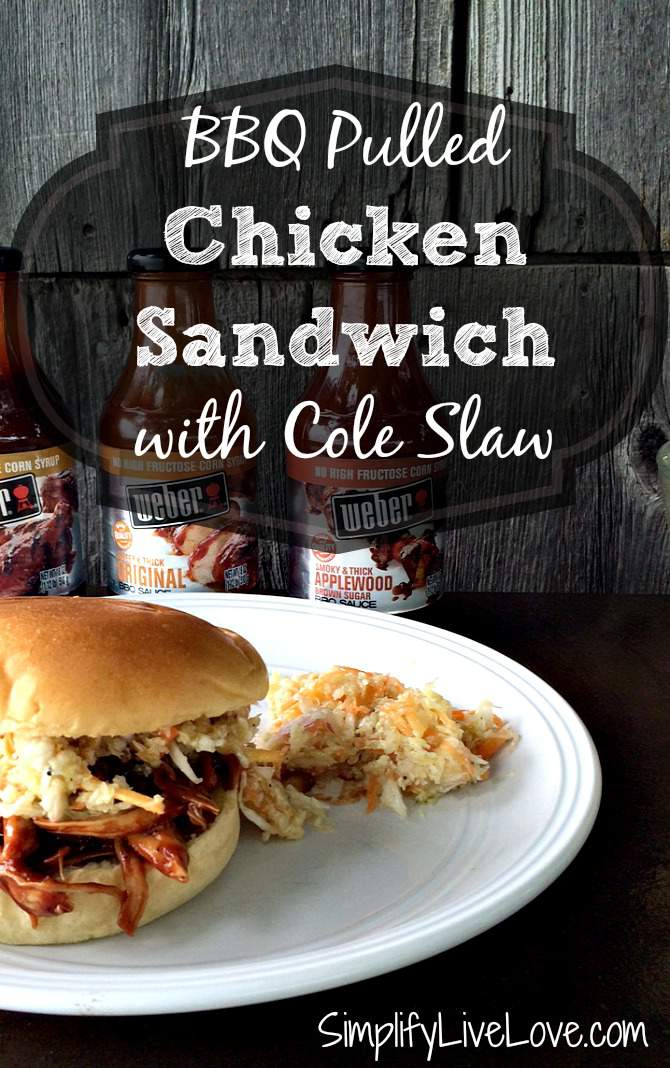 BBQ Pulled Chicken Sandwich with Cole Slaw. Easy slow cooker recipe #WeberBBQSauces #ad