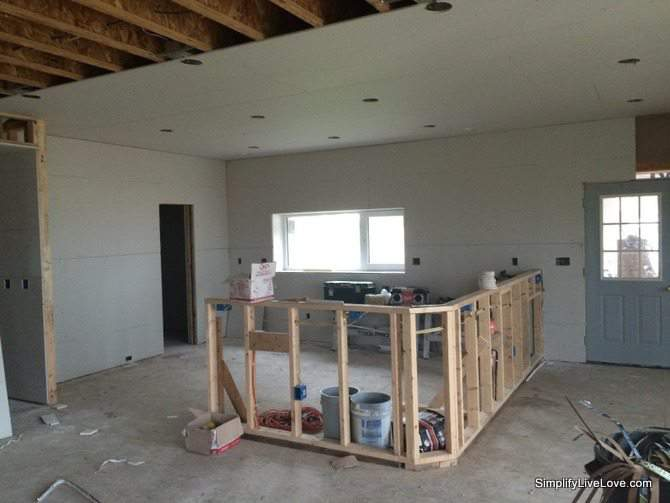 Passive House Update - drywall, floor tile, & Big Ass fans from SimplifyLiveLove.com drywall in progress