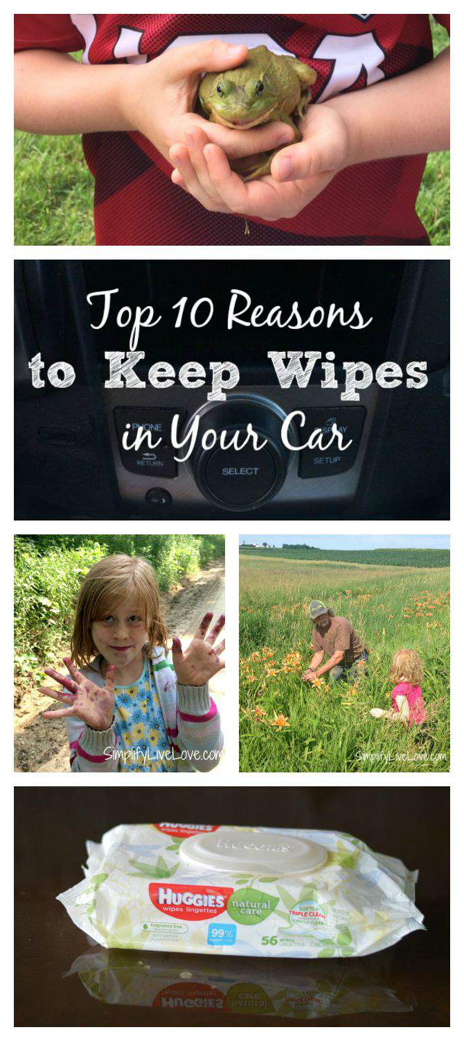 Top 10 Reasons to Keep Huggies Wipes in Your Car #tripleClean #ad collage from SimplifyLiveLove.com