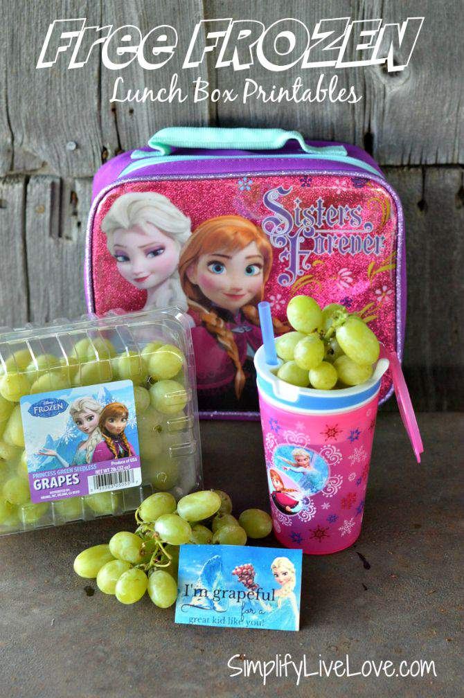 Back to School Lunch Box FROZEN Printables & Grapes #ad #cbias from SimplifyLiveLove.com