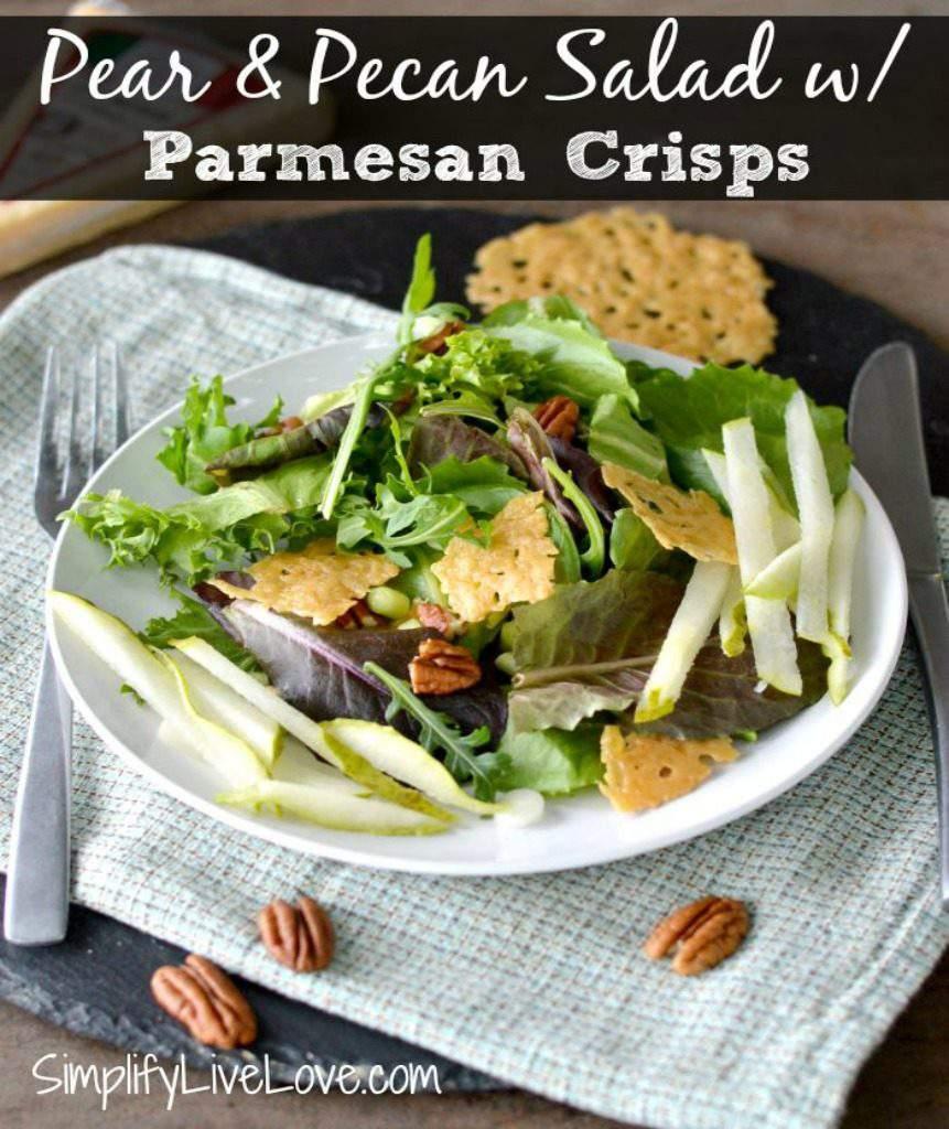 Pear & Pecan Salad with Parmesan Crisps