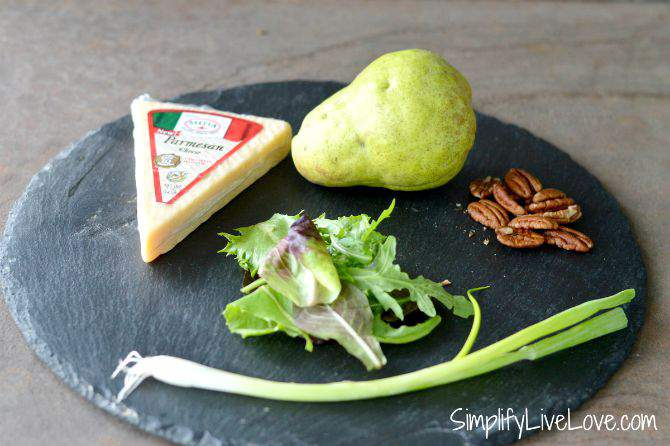 Pear & Pecan Salad with Parmesan Crisps - ingredients from SimplifyLiveLove.com