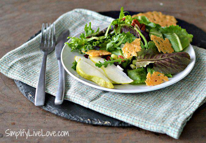 Pear & Pecan Salad with Parmesan Crisps