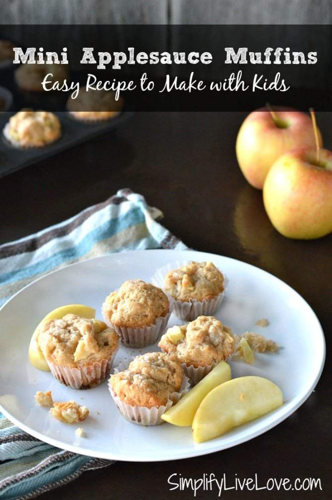 Cooking with Kids - Mini Applesauce Muffin Recipe. Easy & Healthy recipe to make with kids. From {SimplifyLiveLove.com}