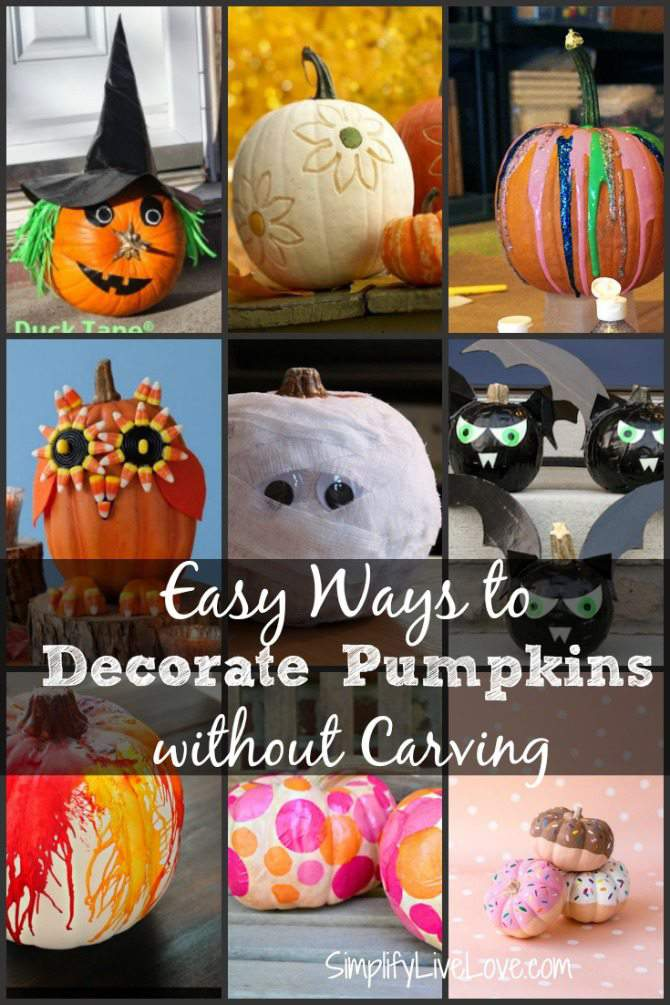 Easy Ways to Decorate Pumpkins with Kids without Carving Round-up Post on SimplifyLiveLove