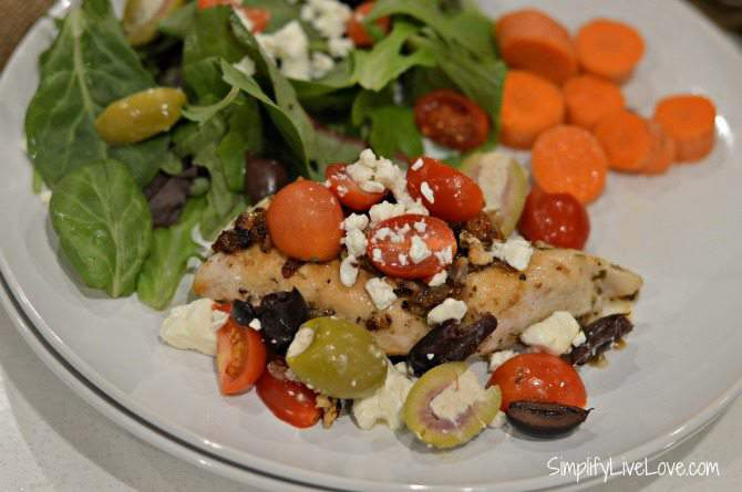 One of my Favorite Mediterranean Recipes - Yummy Greek Chicken - plated and ready to eat. from SimplifyLiveLove.com