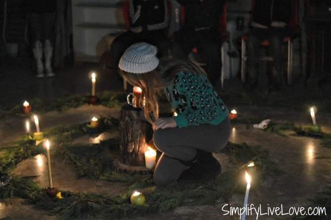 Winter Solstice Spiral 2015 lighting a candle from SimplifyLiveLove.com