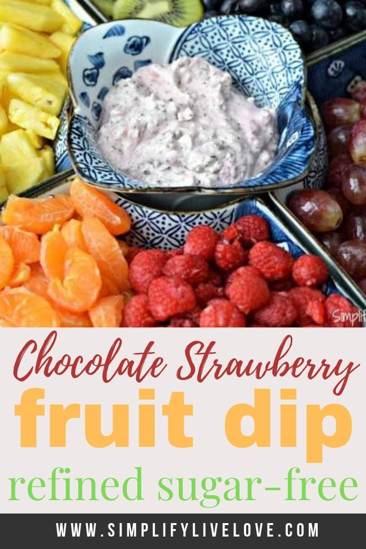 If you're looking for a delicious and healthier fruit dip, you'll love this one. Loaded with chocolate and strawberries, yet refined sugar free, this is one dip you won't feel bad about eating. This healthy fruit dip recipe &  tray will be a huge hit at any event you have. #fruitdip #fromscratch #refindedsugarfree #rainbowfood