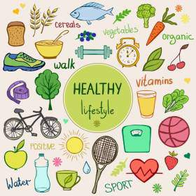 Healthy lifestyle background. Colorful sketch style objects, items and food.