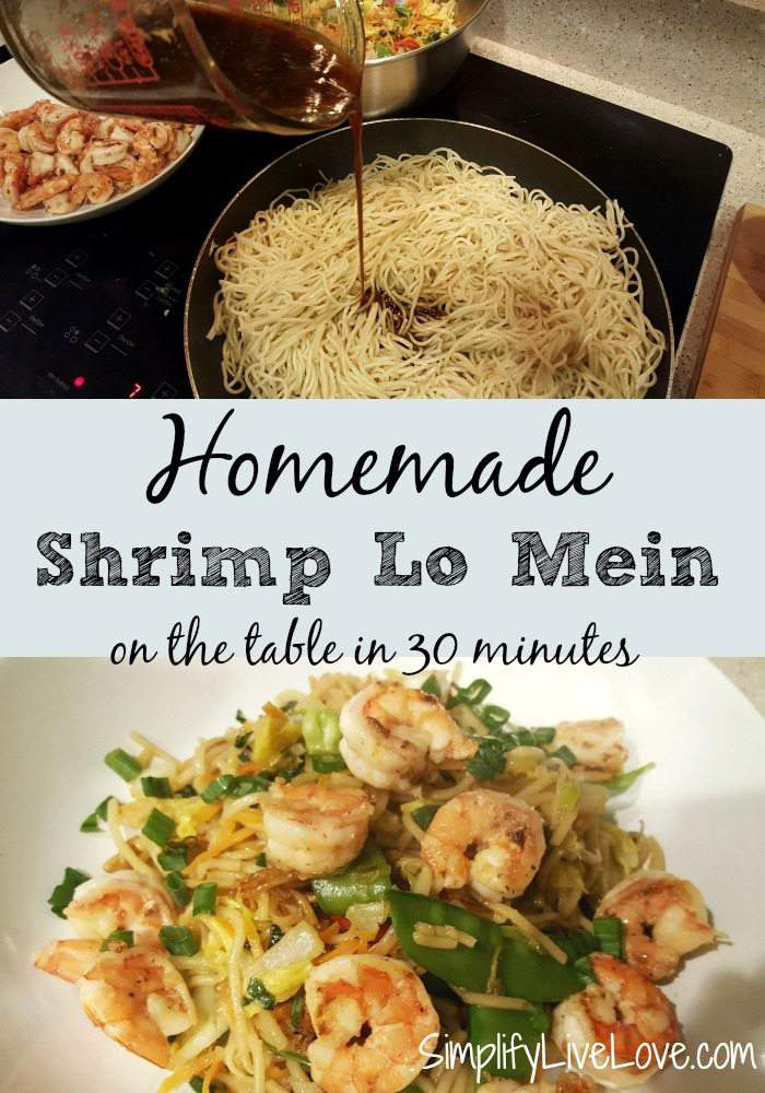 Homemade Shrimp Lo Mein - on the table in 30 minutes. A great way to encourage your family to eat more healthy veggies