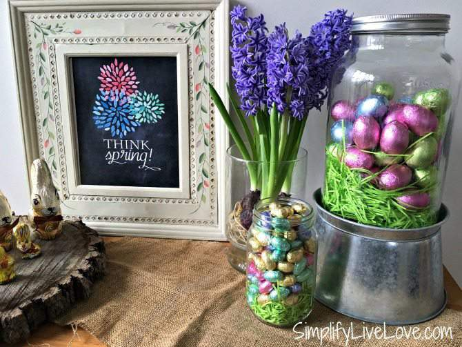 Create a fun Easter Display with chocolates, bulbs and printables. How cute is this