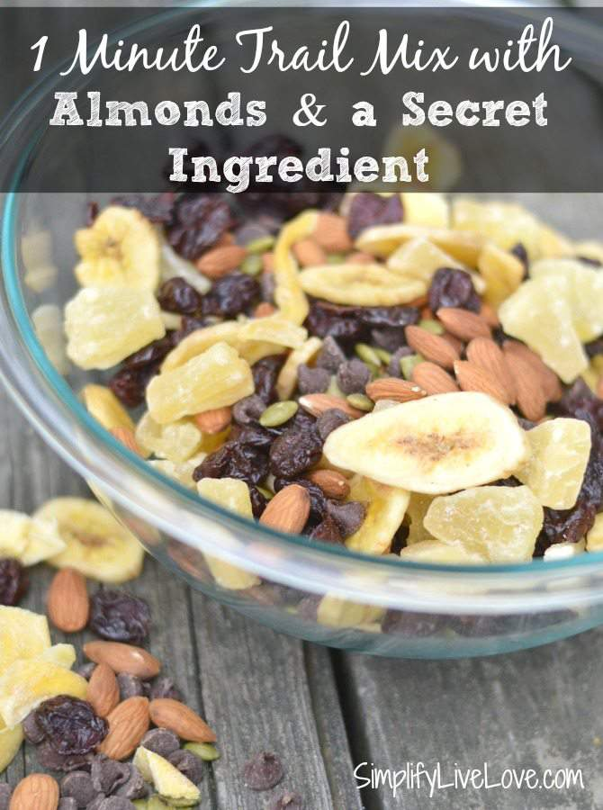 1 minute trail mix with almonds and a secret ingredient and What You Need to Know about Plant Based Diets #PlantBasedLiving