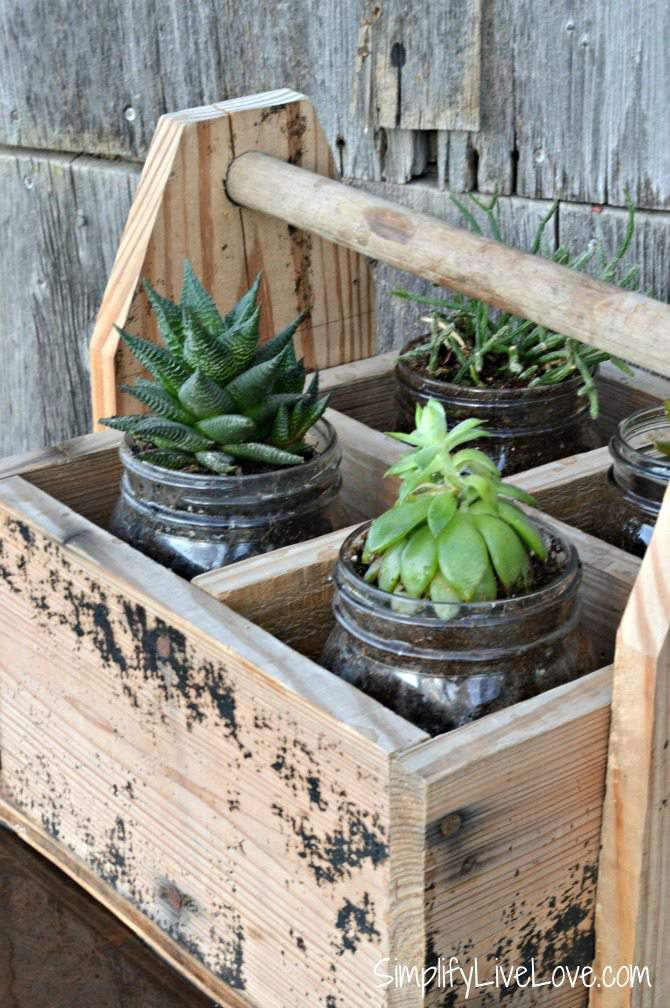 Wooden Box & jar planter