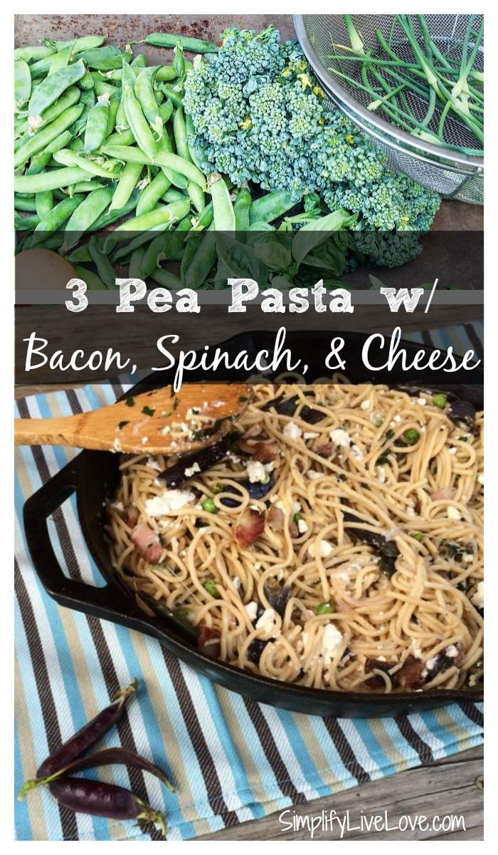 3 Pea Pasta with Bacon, Spinach, & Cheese - quick and easy garden to table recipe